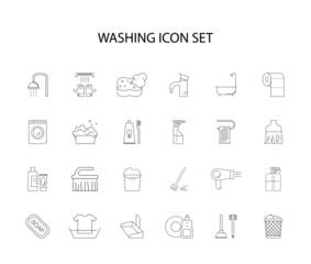 Line icons set. Washing pack. Vector illustration