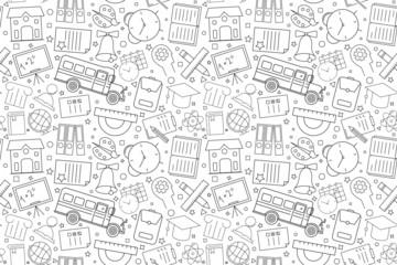 Vector School pattern. School seamless background