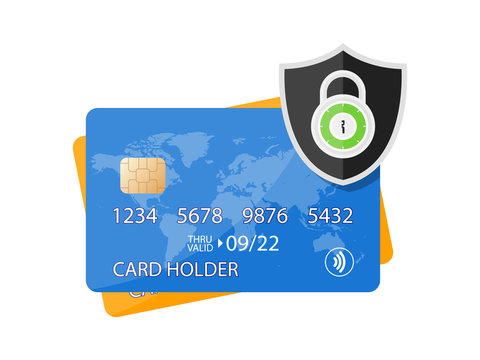 Secured Payment Shield Credit Card with lock icon. Locked bank card illustration Vector