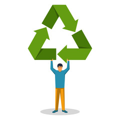 Human hold in hand sign recycle. Symbol ecology. Environment protection. Vector illustration flat design. Isolated on white background. Green arrows around triangle. Conservation earth.