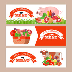 Fresh meat. Vector illustration. Environmentally friendly product. Farm products.