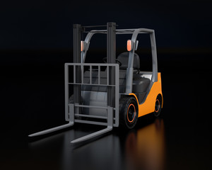Electric forklift on black background. 3D rendering image.