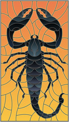 Illustration in stained glass style with abstract black Scorpion on orange background