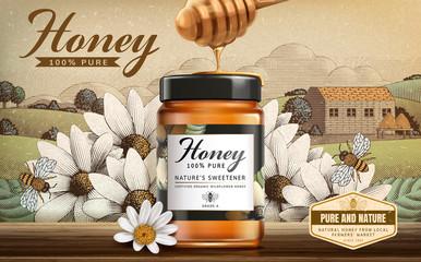 Retro style wildflower honey ads