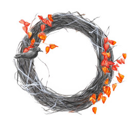 watercolor illustration of a frame with a spider's web for Halloween from Physalis, on which a crow sits, a picture of a terrible wreath for a holiday