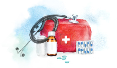 watercolor illustration of medical objects: first-aid kit, pills, stethoscope, drugs for the treatment of diseases