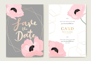 Wedding Invitation, floral invite thank you, rsvp modern card Design in pink poppy flower with golden line decorative Vector elegant rustic template