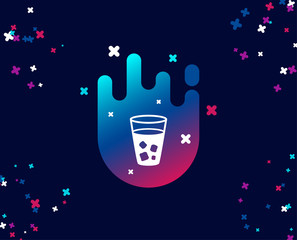 Ice tea simple icon. Soda drink sign. Fresh cold beverage symbol. Cool banner with icon. Abstract shape with gradient. Vector