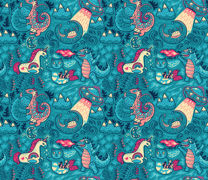 Fantastic creatures, animals pattern. Vector cute background