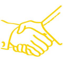 Handgezeichnetes Hände schütteln in gelb