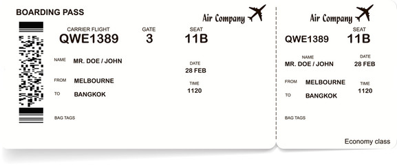 Vector black and white illustration of boarding pass ticket. Isolated on white background.