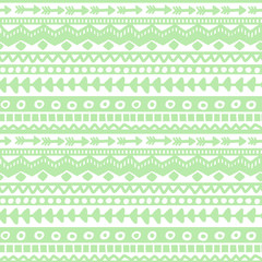 Seamless green and white geometric background. Ethnic hand drawn pattern for wallpaper, cloth, cover, textile