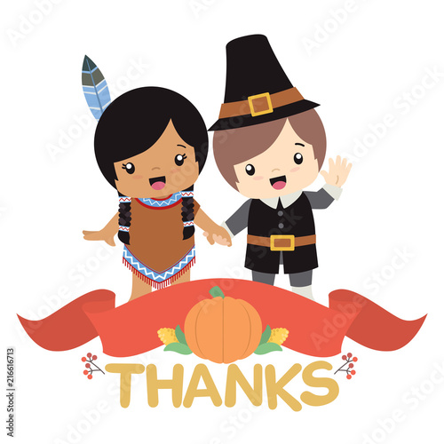 Native American Indian Girl And Pilgrim Boy Holding Hands With Thanksgiving Decoration Banner Vector Illustration
