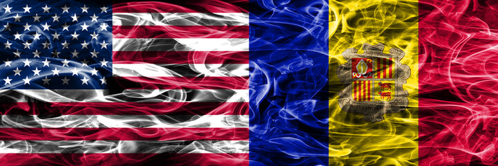 United States vs Andorra smoke flags concept placed side by side