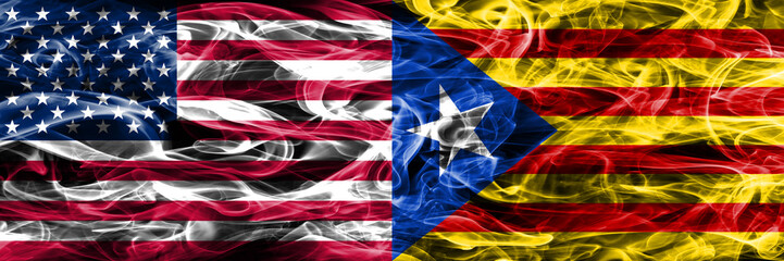 United States vs Catalonia smoke flags concept placed side by side