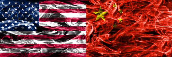 United States vs China smoke flags concept placed side by side
