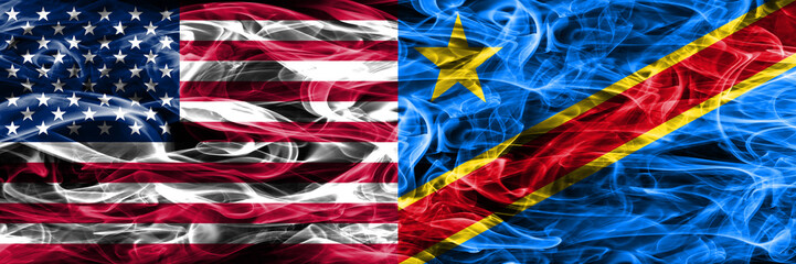 United States vs Democratic Republic of the Congo smoke flags concept placed side by side