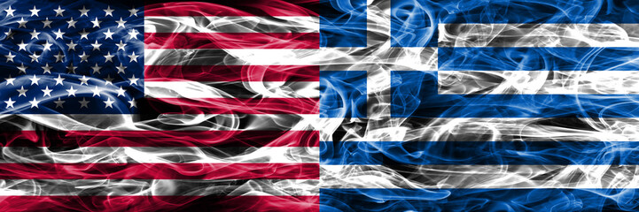 United States vs Greece smoke flags concept placed side by side