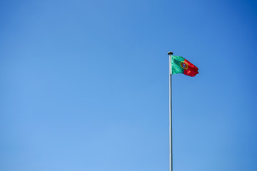 portugal national flag and blue sky