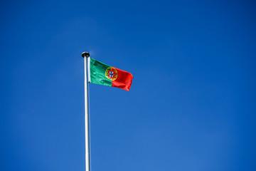 portugal national flag and blue sky