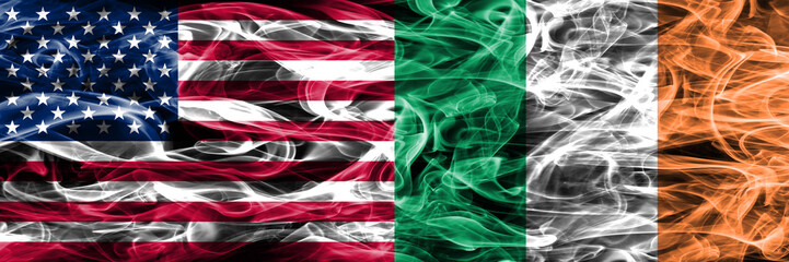 United States vs Ireland smoke flags concept placed side by side
