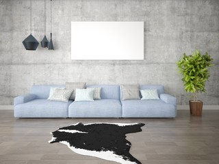 Mock up a fashionable living room with a large stylish sofa and hipster background.