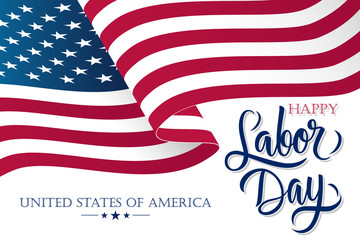 United States Labor Day celebrate banner with waving american national flag and hand lettering text Happy Labor Day. Vector illustration.