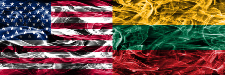 United States vs Lithuania smoke flags concept placed side by side