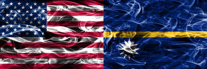 United States vs Nauru smoke flags concept placed side by side