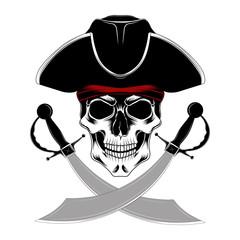 Keuken foto achterwand Draw Skull pirate with sabers.