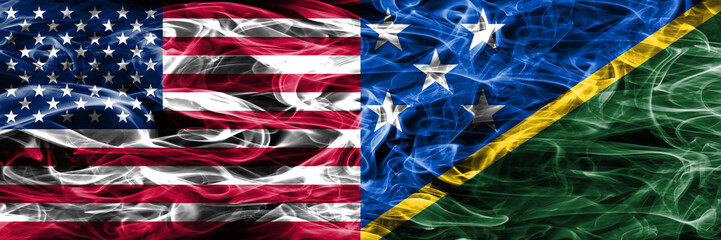 United States vs Solomon Islands smoke flags concept placed side by side