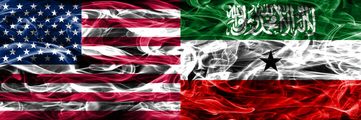 United States vs Somaliland smoke flags concept placed side by side