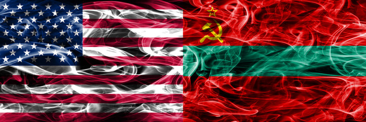 United States vs Transnistria smoke flags concept placed side by side
