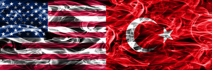 United States vs Turkey smoke flags concept placed side by side