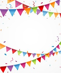 celebration background with bunting flags and confetti