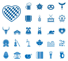 Oktoberfest - Iconset (in Blau/ Weiß)