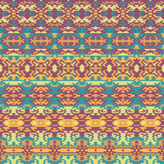Ethnic pattern. Boho seamless background. Pixel complex ornament. Tribal vector design.