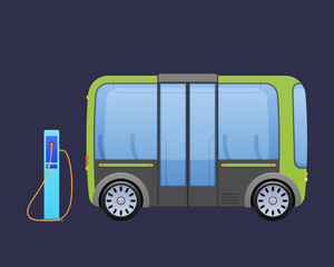 Beautiful multi-seat electric bus, autobus near city's charging electric station.