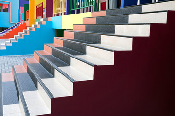 Colorful stairs of the building vacation homes.