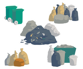 Garbage set. Bags, cans, bins, containers and pile of trash. Isolated objects on white background. Garbage recycling and utilization equipment. Vector illustration