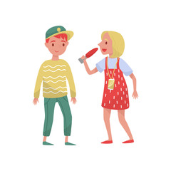 Woman journalist making interview with young guy. Reporter speaking into microphone. Television theme. Flat vector design