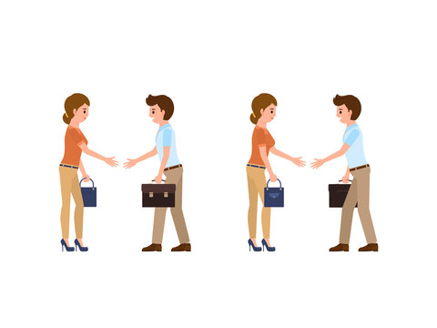 Businessman and businesswoman in casual office look shaking hands. Cartoon character negotiation