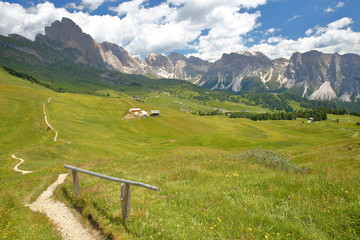Puez Odle mountain range viewed from a hiking path leading to Mount Pic (above Raiser Pass), Val Gardena, Dolomites, Italy