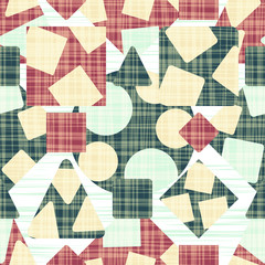 Retro design fabric with geometric shapes. Vector illustration. Rhombus, square, triangle and circle.