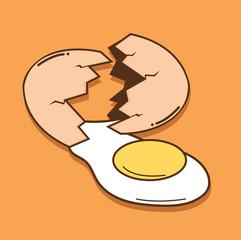 Broken egg shell vector  with yolk