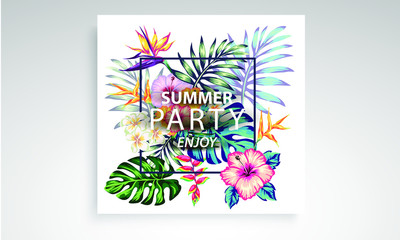 tropical collection with exotic flowers and leaves vector design isolated elements on the white, stock vector tropical a covers hawaiian exotics backgrounds palm leaves with frames use for invitation