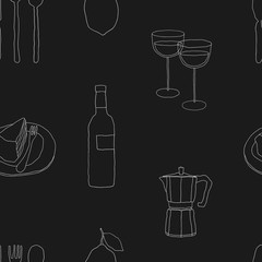 Hand drawn cafe seamless pattern. Food and drinks vector background