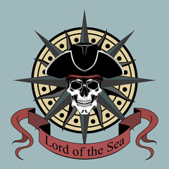 Vector image of a pirate skull in a hat with a wind rose.