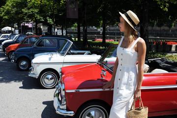 pretty woman and retro cars