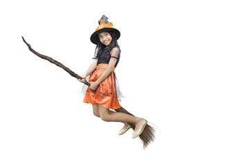 Pretty asian witch girl flying on a magic broom